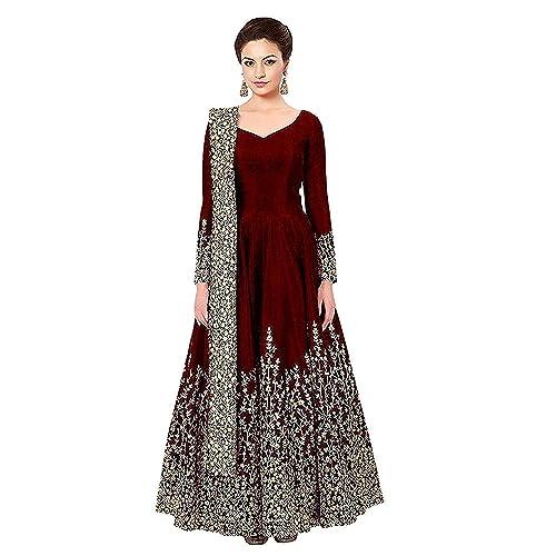 2a4d7cd2b8621 Fast Fashions Women's Embroidered Taffeta Silk Anarkali Gown With Dupatta  (Semi Stitched_Free Size_Maroon)