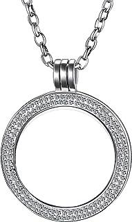 Morella Collana Donna in Acciaio Inossidabile da 70 cm con Moneta Gioielli Zircone Ciondolo a Moneta da 33 mm Argento