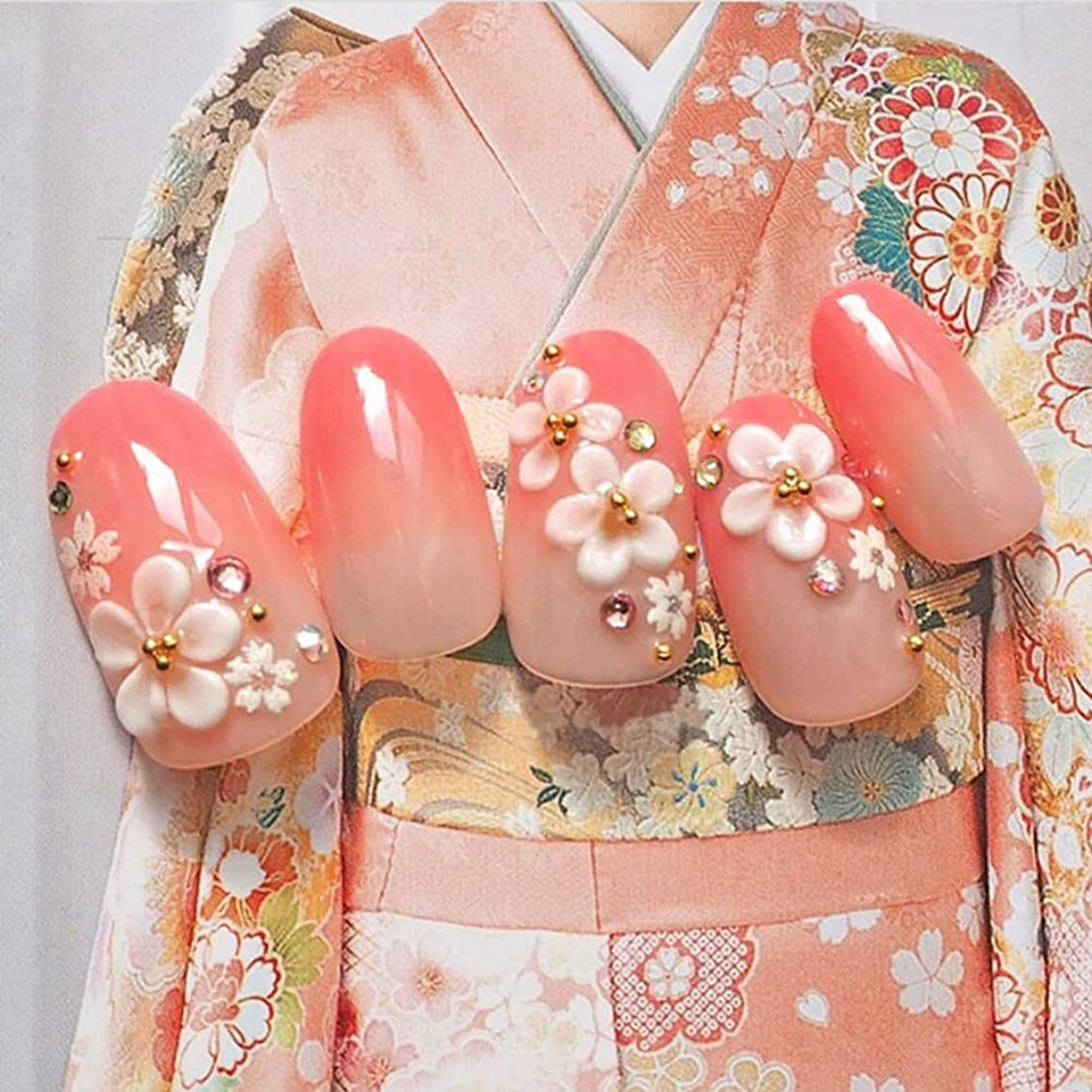 表示感情側XUTXZKA ファッションのために装飾された24pcsファッションロングフェイクネイルのヒントオーバルピンクグラデーションの花