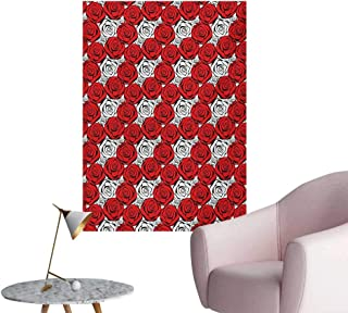 Anzhutwelve Red and Black Wallpaper Roses with Black Contours in Retro Style Feminine Nature InspiredScarlet Black White W24 xL32 The Office Poster