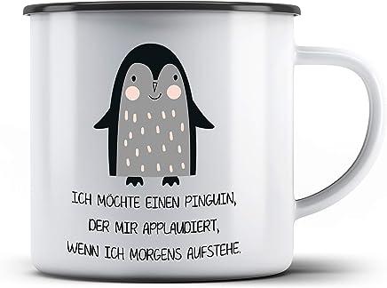 Preisvergleich für True Statements Tasse Ich möchte einen Pinguin der mir applaudiert wenn ich morgens aufstehe - Emaille Kaffee-Tasse mit Spruch - Geschenk zu Weihnachten oder Geburtstag, rand schwarz