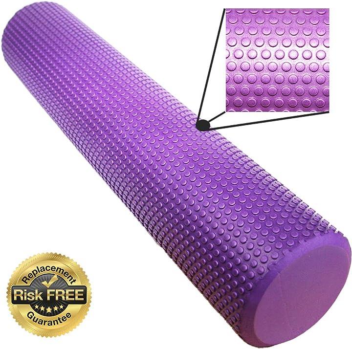 Rullo massaggi - foam roller per terapia del dolore e del massaggio, Ø 9,5 cm x 40 cm, colore: viola B07F8Q6S16