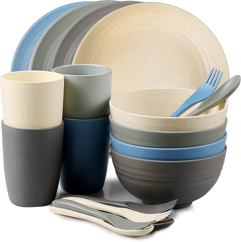 shopwithgreen Wheat Straw Dinnerware Lightweight Max 51% OFF 20PCS Sets Max 47% OFF -