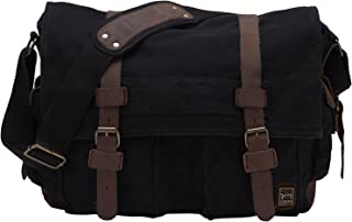"Berchirly Retro Unisex Canvas Leather Messenger Shoulder Bag Fits 17.3"" Laptop-Back to School"