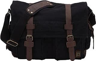 Berchirly Retro Unisex Canvas Leather Messenger Shoulder Bag Fits 17.3