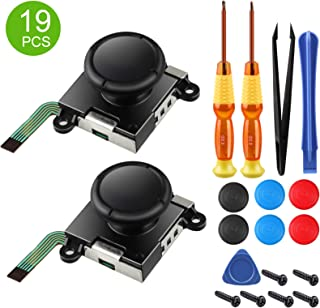 EEEKit 2-Pack Analog 3D Joy con Joystick for Nintendo Switch,joycon Switch joysticks compatiable with Left joycon Right Switch Joy con Controller Full NS Repair Tool Set(19 in 1)
