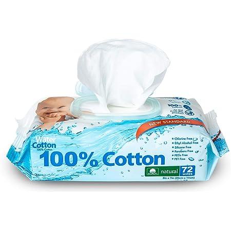 WaterCotton Baby Wipes 100% Cotton Biodegradable 72 Wipes Sensitive Baby Safe Sweet Almond Oil Panthenol