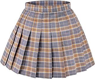 DAZCOS US مقاس 0-22 تنورة منقوشة عالية الخصر اليابان تنانير المدرسة مع شورتات للنساء