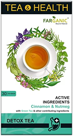 FARGANIC Detox Green Tea for Weight Loss and Skin Glow. 15 Days Detox Plan (30 Tea Bags) Tea and Health Series with Active Ingredients