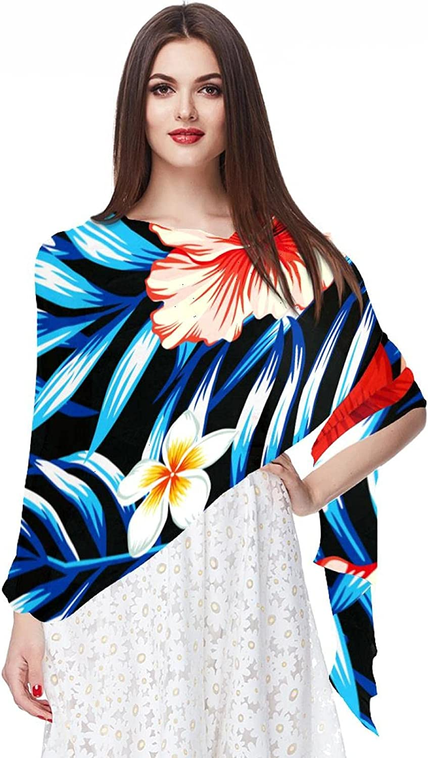 Tropical Red Floral Leaf Flowers Women Soft Chiffon Pashmina Shawl Wrap Scarf for Bridesmaid Wedding Formal Party Evening Dress