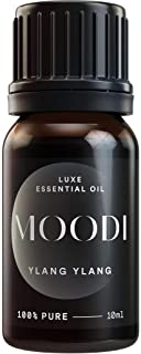 MOODI PURE Ylang Ylang Essential Oil - Ancient Sacred Steam Distillation Method. Best Aphrodisiac Diffuser Aromatherapy Oils for Happy Mood, Heart Health, Glowing Skin, Energy, PMS, Blood Sugar (10ml)