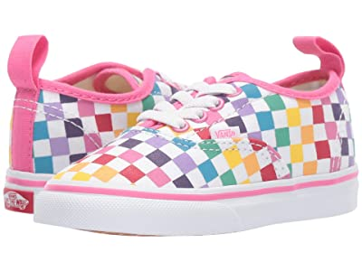 Vans Kids Authentic Elastic Lace (Infant/Toddler) ((Checkerboard) Rainbow/True White) Girls Shoes