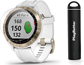 Garmin Approach S40 (White/Gold) Golf GPS Smartwatch Bundle   Includes PlayBetter Portable Charger (2200mAh) & HD Screen Protectors   Stylish, Color Touchscreen, 41,000+ Courses   010-02140-02