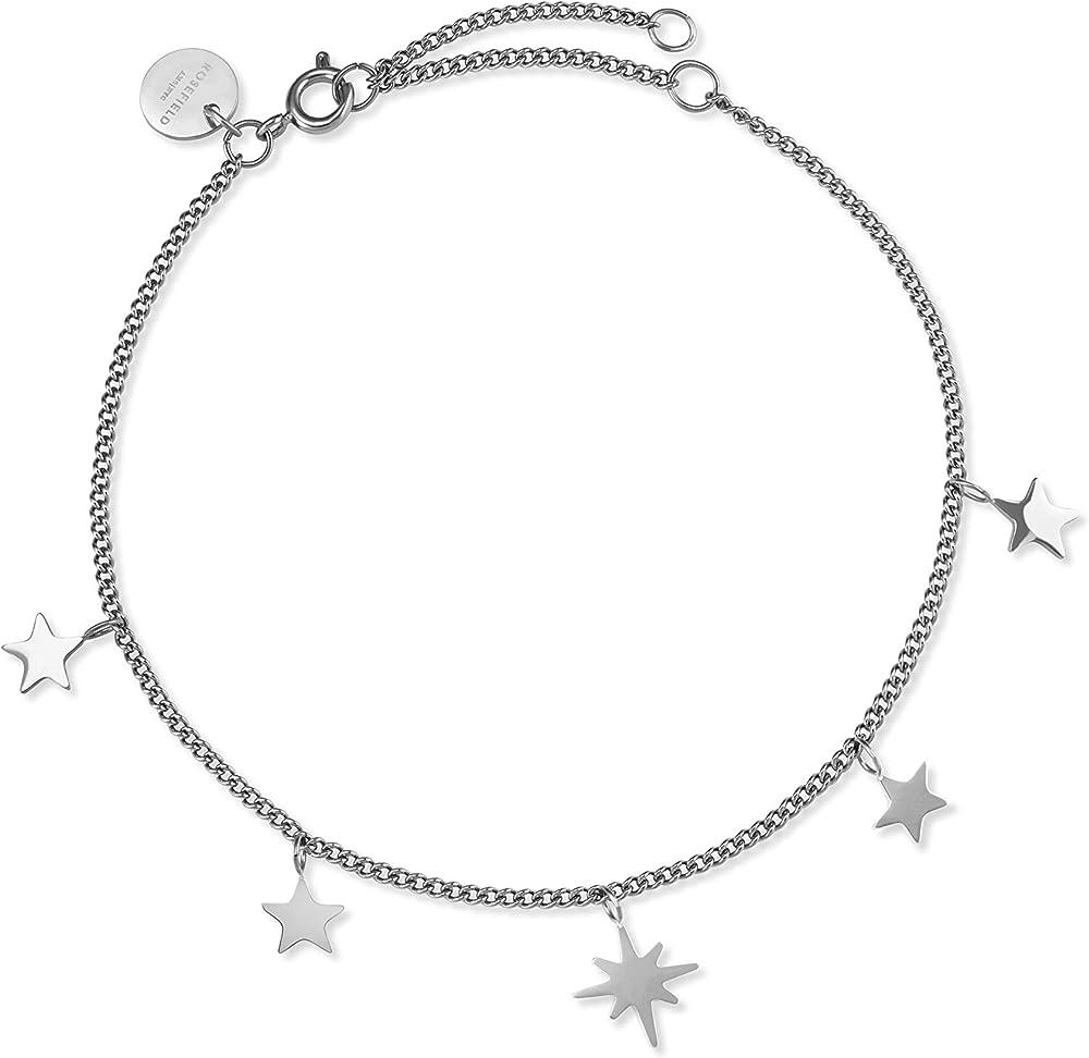 Rosefield, braccialetto per donna, in acciaio inossidabile placcato argento, con ciondoli MUSBS-J228