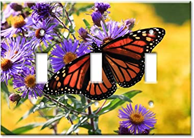Art Plates 3-Gang Toggle OVERSIZED Switch Plate/OVER SIZE Wall Plate - Monarch Butterfly on Purple Flower
