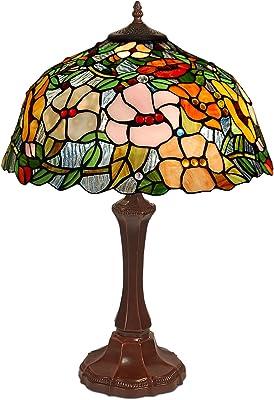 World Art TW60496 Lampes Style Tiffany Lampe de Table Floral, 60x42x42 Cm