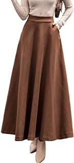 chouyatou Women's Fall Winter A-Line Swing Pleated Long Maxi Wool Skater Skirt