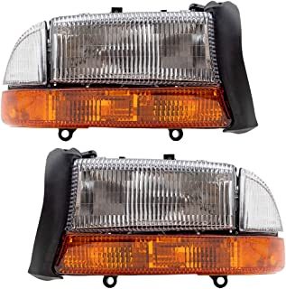 Driver and Passenger Composite Headlights Headlamps with Park Signal Lamp Replacement for1998-2004 Dakota Pickup Truck 55055111AI 55055110AI
