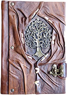 "Genuine Leather Writing Journal Sketch Book (Tree of Life) with 160 Cream Colored Pages and Brass C-Clasp (5.5"" x 7.8"")"