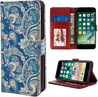 Paisley Authentic Asian Inspired Floral Persian Fashion Boho Art Illustration Print Teal Navy and Tan Print Wristlet Wallet Case Fit for iPhone 6s Plus iPhone 6 Plus 5.5 Version Folio Case