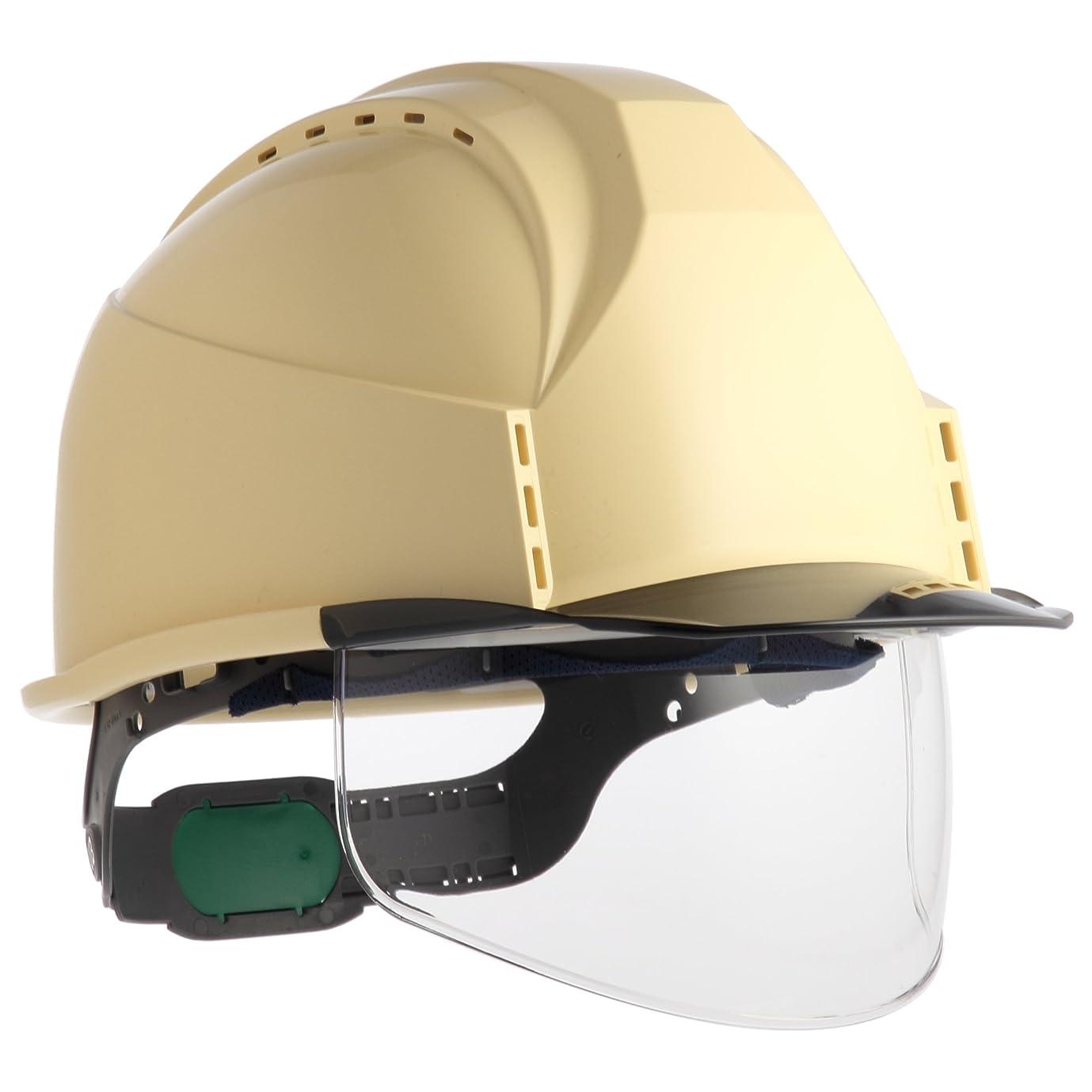 あごひげ順応性のあるタブレット住ベテクノプラスチック ヘルメットKKC3シリーズ 通気孔付?透明ひさし?スチロールライナー付?クリーム/スモーク KKC3S-B-CR-S