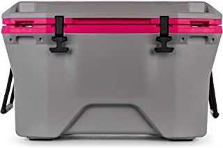 Camco Currituck Gray and Pink 30 Quart Cooler - Rugged Exterior Made for Camping, Hunting, Fishing and Tailgating - Comes with Cooler Basket (51713)