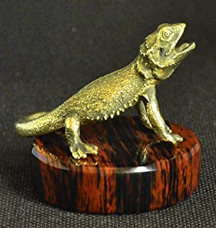 OBSIJAV Handmade Handcrafted Bronze Statuette Figurine Statue Figure Sculpture of Agama Lizard on Natural Obsidian Stand PedestalSMALL Gift Included with Each Purchase