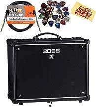 Boss Katana 50-Watt 12-Inch Guitar Combo Amplifier Bundle with Instrument Cable, 24 Picks, and Austin Bazaar Polishing Cloth