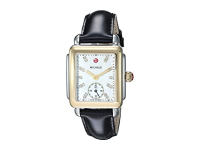 Michele Deco Mid Two-Tone, Diamond Dial On Black Patent Watch (Black Patent/Two-Tone) Watches