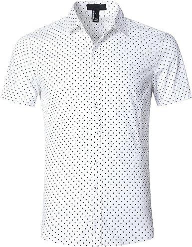 SOOPO Camisa Hombre Manga Corta Camisa Unicolor Estampada de Puntos Pequeños Camisa de Vestir Camiseta Casual, Diversos Estilos y Tallas