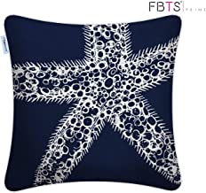 FBTS Prime 100% Cotton Throw Pillow Covers 18 x 18 Inches Navy Marine Organism Starfish Decorative Square Cushion Covers Pillow Sham for Couch Bed Sofa Indoor Furniture