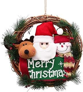 Sunm boutique Merry Christmas Wreath Small Grapevine Wreath with Santa Snowman Reindeer Front Door Wreaths for Door Home