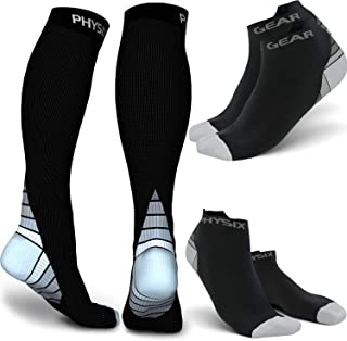 Physix Gear Sport 3 Pairs Compression Socks for Men & Women 2 Pairs Low Cut & 1 Pair Knee High (Black/Grey) S-M Size