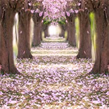 Yeele 5x5ft Vinyl Photography Background Spring Scene Cherry Blossoms Tree Flower Clusters Grass Floors Lawn Wedding Ceremony Bouquet Archway Romantic Tunnel Photo Backdrop Studio Props Wallpaper