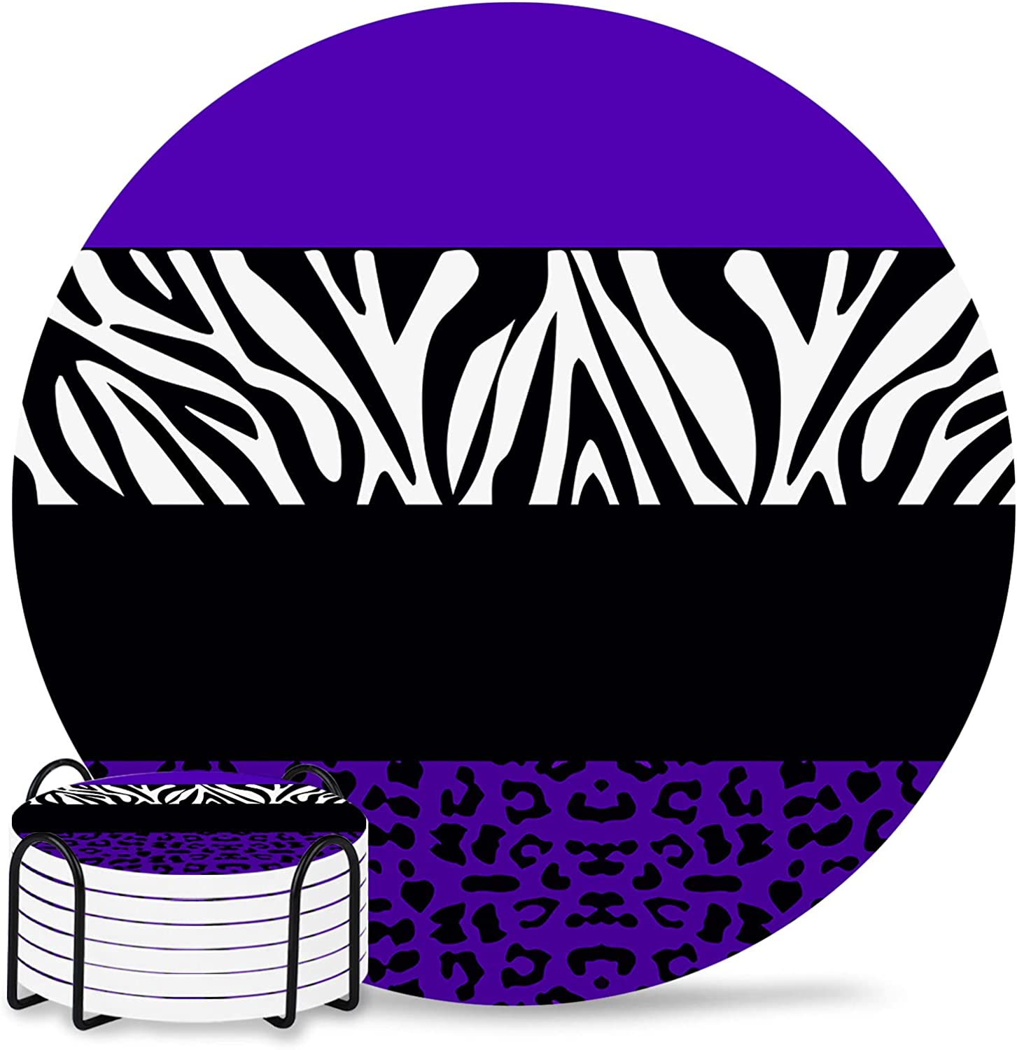Purple Leopard Drink Coasters Non-Slip Regular discount Backin 70% OFF Outlet with Coaster Cork