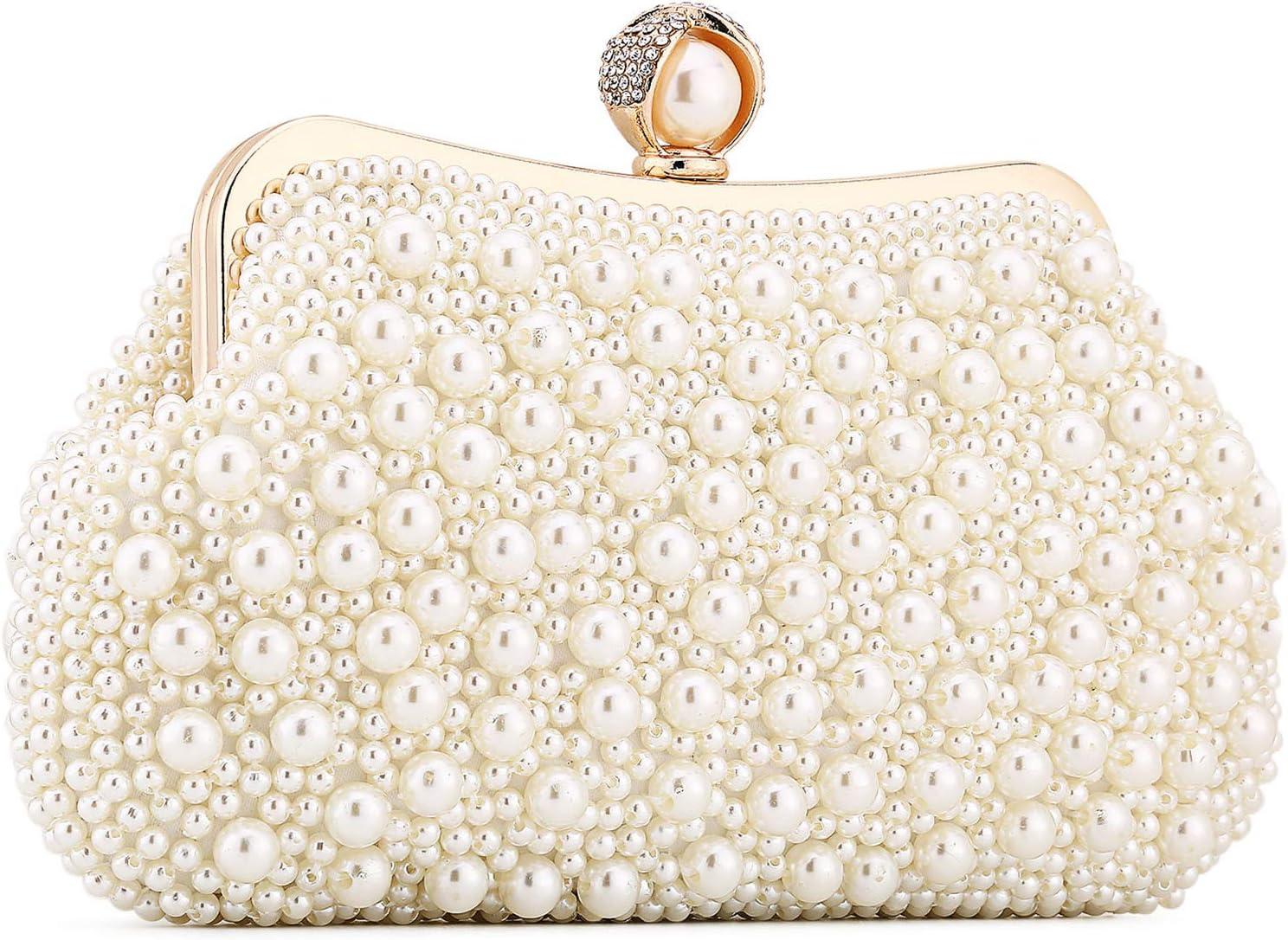 Evening Max 45% OFF Clutch Purse Wedding Finally popular brand Beaded Hand Bag Pearl Bridal