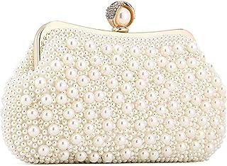 UBORSE Damen Abendtasche Weiß Clutch Perlen Handtasche Kleine Elegant Umhängetasche Mini Kette Tasche Vintage Schultertasc...