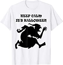Beautiful Keep Calm It's Halloween Scary Witch Design T-Shirt