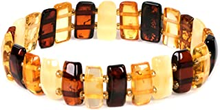 AMBERAGE Natural Baltic Amber Stretch Bracelet for Women - Hand Made from Polished/Certified Baltic Amber Beads