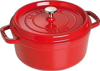 Staub - Olla Cocotte redonda, hierro fundido, 24 cm, rojo cereza