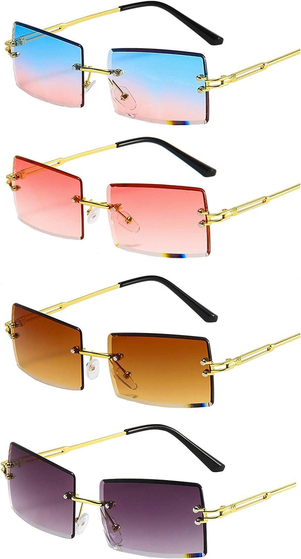 Rcanedny 4 Ranking TOP6 Pairs Rimless Sunglasses Many popular brands Rectangle Transparen Fashion