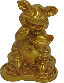 Feng Shui Import Small Golden Pig Statue Holding Ingot for Chinese Lunar Year of Pig