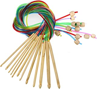 KOKNIT Set of 12 Size Tunisian Afghan Crochet Hook Set with Plastic Cable Carbonized Bamboo Knitting Needles Weaving Carpet Rugs Blanket 3.0mm(D)-10.0mm(N)