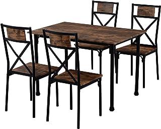 landeer Juego de 4 mesas de comedor y sillas de estilo industrial retro de cocina (marrón rústico)