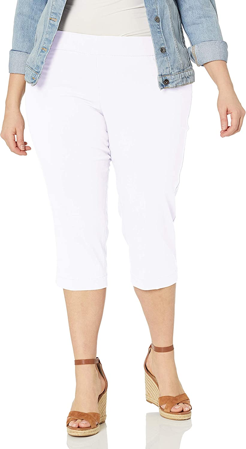 SLIM-SATION Women's Plus Size Wide Band Pull on Straight Leg Capri with Tummy Control