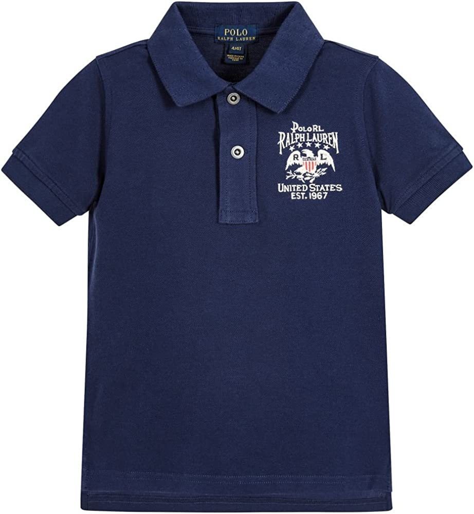 Ralph Lauren Boys Vintage Flag Patch Short Sleeve Polo Shirt