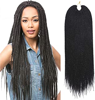 Refined Products 22Inch 30Roots Small Senegalese Twist Crochet Braids 7Packs Ombre Kanekalon Synthetic Crochet Braid for Braiding Hair (1B)