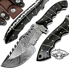 Buffalo Horn 9.5'' Tracker Fixed Blade Hand Made Damascus Steel Hunting Knife 100% Prime Quality