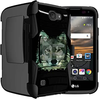 Untouchble Case for LG K3 Wolf Case| K3 Case [Heavy Duty Clip] Dual Layer Hard Case with Kickstand and Holster Clip - Green Wolf