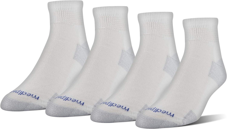 MediPeds unisex-adult Nanoglide Quarter Socks, 4-pack